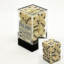 Ivory 16mm D6 Opaque Dice Block of 12 CHX 25600