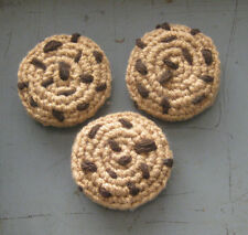 3 Hand Crochet CHOCOLATE CHIPS COOKIES pretend PLAY FOOD amigurumi Dessert TOY