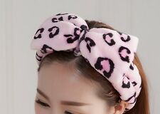 Big bow towel hairband spot wrap headband bath shower Spa pajamas party Leopard