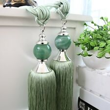 "12"" Luxury Tassel Curtain Tieback Holdback Window Decoration Large JADE GREEN"