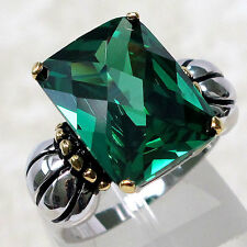 FABULOUS 10 CT EMERALD 925 STERLING SILVER RING SIZE 9