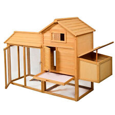 "80""L x 27.6""W x 52.4""H Deluxe Wooden Chicken Coop Hen House Poultry Cage Hu"