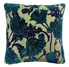 """VERSAILLES PLUMAGE WOVEN CHENILLE TEAL BEIGE FLORAL FLOWER CUSHION COVER 17"""""""