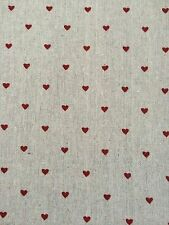 FQ Hessian Natural Linen Fabric With Red ❤️ Hearts Craft Sew Quilt
