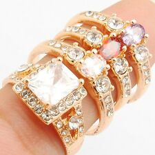 Wholesale Gold Plated Office Lady Rings 4pcs/Lot Cubic Zirconia Mixed size