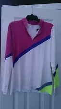 NWT Ladies EP Pro Sport WHITE Dazzle Pink Long Sleeve Golf Shirt - size M KASBAH