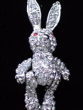 CLEAR RHINESTONE SILVER EASTER RAG DOLL BUNNY RABBIT PIN BROOCHJEWELRY MOVABLE