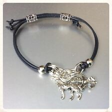 Grey Leather Wolf Animal Spirit Guide Bracelet - Silver Charm & Crystal Angel