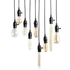 Retro Vintage Wire Bulb Socket Lantern Cord Pendant Lamp Hanging Bulb Holder DIY