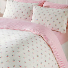 Pink Rosebud Double Duvet & Pillowcases Bedding Set 100% Brushed Cotton