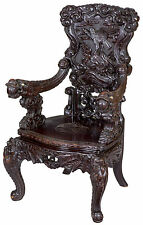 SWC-Magnificent Carved Japanese Armchair, with Inset Ivory, c.1890/1910