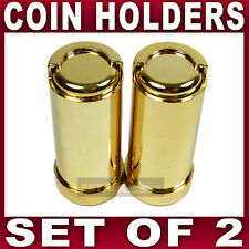 2x COIN HOLDER £1 one Pound cash change dispenser pocket taxi GOLD tone 15 coins