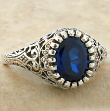 VINTAGE ANTIQUE STYLE .925 STERLING BLUE LAB SAPPHIRE SILVER RING SIZE 9,  #801