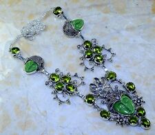 """CARVED FACE JASPER+PERIDOT+AMETHYST SILVER NECKLACE 22"""" FREE SHIPPING"""