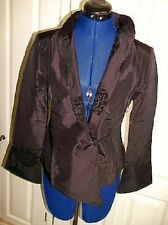 SIZE 10.FAB CHINESE SILK FITTED JACKET-black & gold SILK, LINED,MANDARIN COLLAR