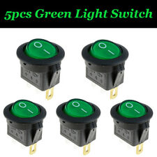 5x 12V Car Rocker ON/OFF Waterproof Green LED illuminated Push Button Switch