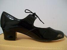 Tappers et pointers ptc/p noires vernies talon cubain tap chaussures taille 2 uk - 34 eu