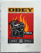 Shepard Fairey OBEY PRINT AND DESTROY Letterpress poster giant press machine