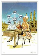 Ex-libris Meynet Pin-up Meutre à l'Atomium Bruxelles 2017 A4 199ex signé