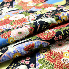 [ON SALE]1/2YD Oriental Asian Japanese Style kimono  fabric sewing - black#205