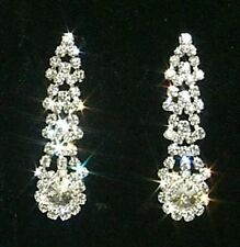 Graduating & Cascading Rhinestones / Diamante Crystal & Flower Drop Earrings