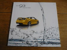 SAAB 93 CONVERTIBLE FULL CAR  BROCHURE 2009 jm