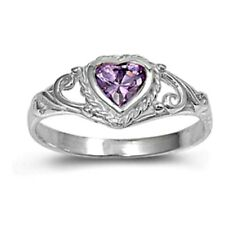.925 Sterling Silver Ring size 1 CZ Baby Kids Heart Amethyst Midi Ladies New