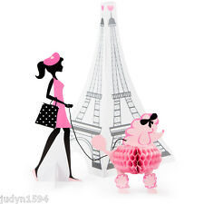 PARTY IN PARIS LARGE CENTREPIECE TABLE DECORATION PINK POODLE EIFFEL TOWER CHIC
