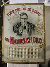Antique Original THE HOUSEHOLD Finance Tin Litho Tacker Match Strike Sign c1890