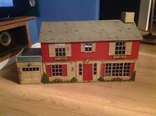 "VINTAGE MARX TIN DOLL HOUSE WITH LOTS OF FURNITURE, 33 1/2"" LONG."