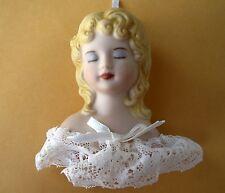 Vintage Handpainted Ceramic Porcelain Doll Head w/Lace Trim Christmas Ornament