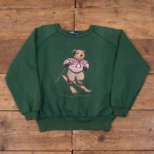 "Mens Vintage Ralph Lauren Polo Bear Sweatshirt Ski Sking Green Size M 38"" R4407"