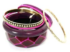Women's Fashion Plum Gold Chunky Bangles Set purple Fashion Bracelet