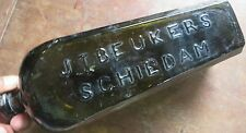 Dutch JT BEUKERS SCHIEDAM ANTIQUE green Glass Gin Bottle No.3 ROLLED LIP Color