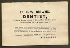 VINTAGE AD FOR DR. R.W. BROWN DENTIST  NEW LONDON, CT 1877