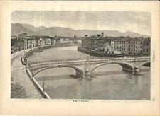 Stampa antica PISA veduta del Lungarno Toscana 1891 Old antique print