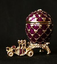 """St Petersburg Russian Faberge Egg: Easter Egg Trinket Box, 1.2"""" """"Carriage"""""""