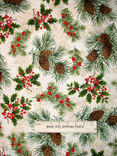 Christmas Fabric - Holiday Pine Cone Tree Sprig Timeless Treasures CM8791 -