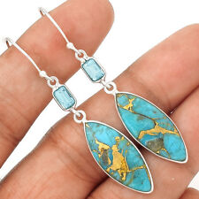 Copper Blue Turquoise 925 Sterling Silver Earrings Jewelry EE12551