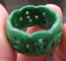 new  green jade   hand carved hollow ring size9 free shipping