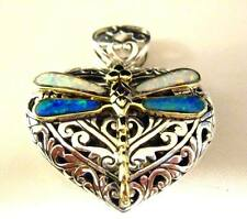 Sterling Silver openwork Gilson Opal Dragonfly Reversible Big Heart Pendant 35mm