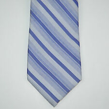 NWT CALVIN KLEIN Slim Skinny Silk Blend Blue Chalk Stripe Neck Tie