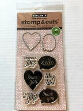 Hero Arts Clear Stamp & Cut Hello Love You Thank You Heart Die Cut Set DC132 NEW