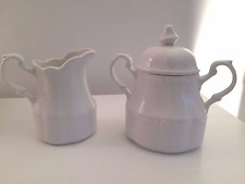 J&G MEAKIN STERLING COLONIAL WHITE IRONSTONE CREAMER AND LIDDED SUGAR  - ENGLAND