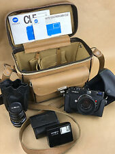 Minolta CLE Camera w/ Rokkor 40mm F/2 and 90 mm F/4, Flash, Manuals and Case