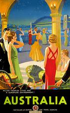 """Vintage Travel Poster Sydney Harbour Bridge *FRAMED* CANVAS ART  24x16"""""""
