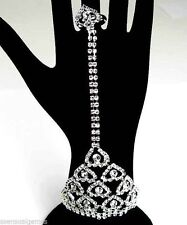 Rhinestone Bracelet Attached Woman's Ring Attached Ladies Slave Hearts