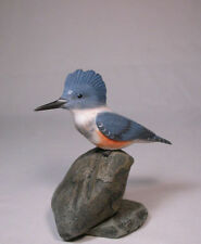 Female Belted Kingfisher Original Bird Carving/Birdhug