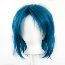 13'' Shaggy Messy w/ Long Bangs Cerulean Blue Visual Kei Cosplay Wig NEW