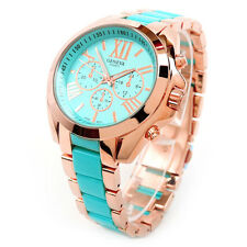 Turquoise Rose Gold Large Size Boyfriend Style Women's Watch